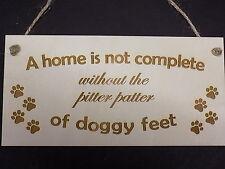 DOGGY piedi Pitter Patter Divertente Regalo in Legno Placca famiglia Pet Casa Segno rustico