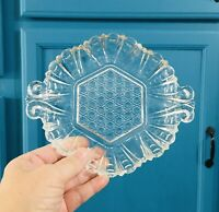 Vintage Clear Crystal Candy Trinket  Dish With Handles Cut Glass Elegant Luxury
