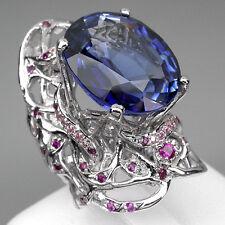 DAZZLING BLUE PURPLE TANZANITE MAIN STONE 21 CT. RUBY SAPP 925 SILVER RING SZ 7