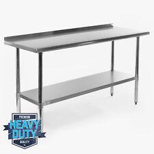 """Stainless Steel Kitchen Restaurant Work Prep Table with Backsplash - 24"""" x 60"""""""