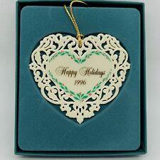 Lenox Ornament Pierced Heart Happy Holidays 1996 & Box Celebrate Anniversary
