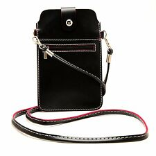 Black Women PU Leather Shoulder Pouch Cell Phone Bag For Samsung Galaxy Note 9/8