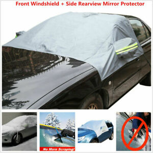 Car Front Windshield & Side Mirror Sun Snow Frost Ice Protector Tarp Flap Cover