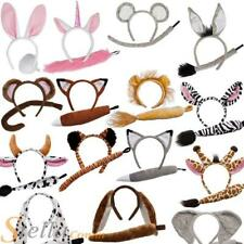 Animal Ears Headband & Tail Safari Fancy Dress Costume Set Unisex Outfit