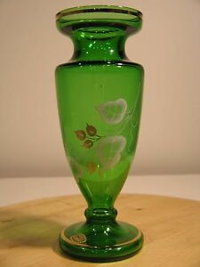 """Bohemia Crystal Hand Made Vase Emerald Green with Gold Trim 8.5"""" Mint! VINTAGE"""