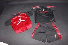 NIKE AIR JORDAN 3 Piece Infant Baby Set Shirt Shorts Jacket 6 to 9 Mos Black/Red