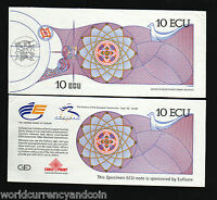 EURO 10 ECU 1992 BUNDLE COMMEMORATIVE G&D SPECIMEN UNC EXPO SEVILLE 50 TESTNOTE