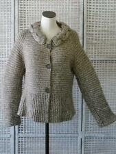 RENA LANGE Design Artsy Knot Collar Marled Wool-Cashmere Fit Sweater Jacket~L/XL