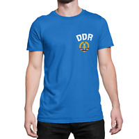 Mens DDR East Germany ORGANIC Cotton T-Shirt CHEST Logo Retro Football Patriotic