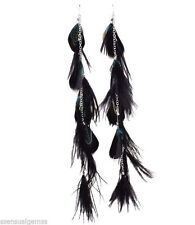 Feather Shoulder Duster Chains Teal & Black Dark Silver feathered Earrings 9""