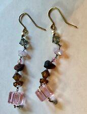 Philippa Kunisch pink, lavender, gray, bronze & pink crystal dangle earrings