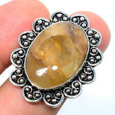 Golden Rutilated Quartz - Bahia Gemstone 925 Sterling Silver Bali Ring s.8 T8682