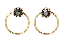 Kendra Scott Vintage Gold Brown Golden Obsidian Davie Hoop Earrings Jewelry New