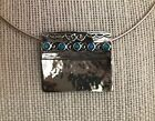 Vintage - 925 Sterling Silver - Omega Necklace & Pendant w/ Oval Blue Fire OPALS