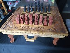 Ancien Jeux d Echec Backgammon en bois sculpté sur Pied Birmanie Indonésie?