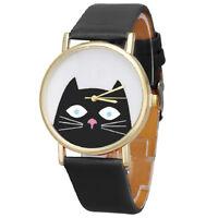 Katze Muster Damen Herren Lederband Zifferblatt Quarz Armbanduhr (schwarz) Y6L1