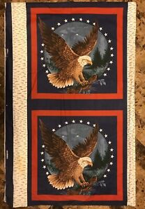 Lot 2 American Eagle Panels To Make Pillows Patriotic Red White Blue