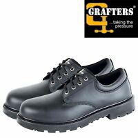 Grafters Mens Safety Shoe Steel Toe Cap Work Trainer Black