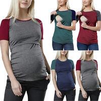 Damen T-Shirt Freizeit Stillshirt Schwangerschaft Bluse Top Kurzarm Umstandsmode