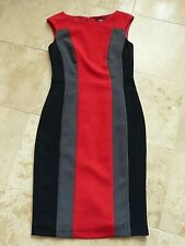 Marks & Spencer Red/Grey/Black Smart Office Business Dress Lined Fitted size 8
