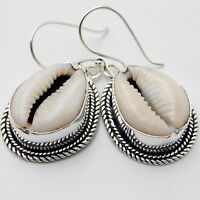 Huge Money Cowrie Sea Shell 925 Sterling Silver Plated Jewelry Earring 9 Gm