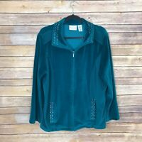 Alfred Dunner Womens 18 Velour Zip Front Track Jacket Bling Collar Pocket Green