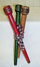 Antique Wooden Bobbin Spools Red Green and Brown Lot of Three