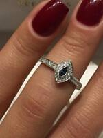 CLEARANCE 18CT WHITE GOLD 0.30CT DIAMOND AND SAPPHIRE MARQUISE HALO RING LCL050