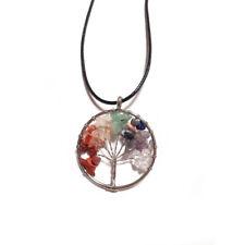 Collar Colgante Arbol de la vida 4cm minerales 7 chakras Energia Reiki