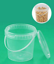 Secchio fusto trasparente con coperchio e manico per alimenti 11 lt vaso terra