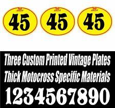 SET OF 3 BRIGHT YELLOW DG VINTAGE MOTOCROSS CUSTOM PRINTED OVAL NUMBER PLATE