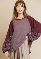 NWT Umgee CHIC BoHo Hippie Balloon Sleeve Waffle Knit Top Small
