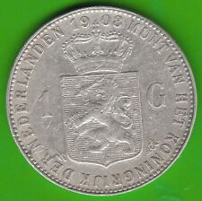 Niederlande 1 Gulden 1908 sehr schön etwas berieben nswleipzig