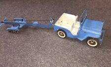 Vintage TONKA JEEP & TRAILOR Blue W/Winch WhiteWall Tires V.G. Display As-Is