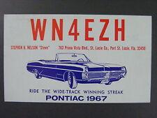 1967 Pontiac Catalina Convertible QSL Ham Radio Postcard WN4EZH Port St. Lucie