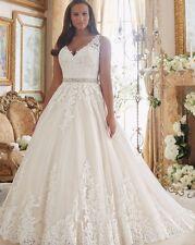 V Neck Sexy Ball Gown Vintage Lace Plus Size Wedding Dress Custom size 6-16-26W