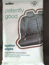 Wilko Leather Cleaning Wipes x24 Clean & Care, Refreshing aroma Resealable pack