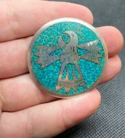 Vintage Sterling Silver 925 Taxco Mexico Bird Motif & Turquoise Inlay Brooch Pin