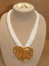 80s Runway 20 Strand White Glass Seed Bead Goldtone Satin Leaf Necklace Earrings