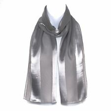 Chiffon Satin Plain Striped Elegant Ladies Scarf Light Grey