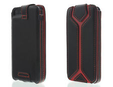 Aleratec Leather Wallet Folio Flip Case for iPhone 5 5S Black/Red