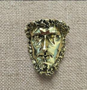 Gold Tone Roman Greek God Face Head Art Nouveau Masculine Brooch Pin
