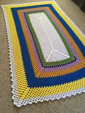 Handmade Crochet Rectangle Glitter White Yarn Afghan Throw Lap Blanket Decor