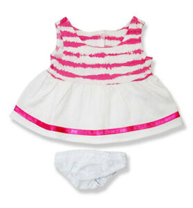 Adorable White and Pink Stripe Dress Fits Most 14 to 18 inch Build A Bear and Ma