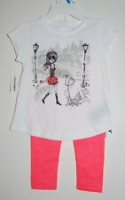 NWT DKNY Infant Girls Pink Girl & Dog Graphic SS T-Shirt & Leggings Set sz 24M