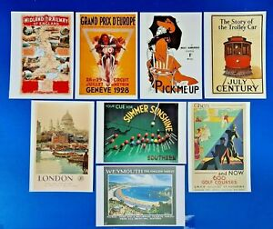 Set of 8 Vintage Reproduction Advertising Advert Postcards, Railway, Tram, other