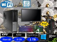 FAST GAMING DELL BUNDLE PC FULL SET COMPUTER INTEL i3  8GB 1TB Gaming Keyboard