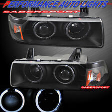 Pair Black Halo Projector Headlights for 92-98 BMW E36 3-Series Sedan and 318Ti