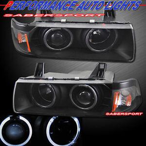 Pair Black Halo Projector Headlights for 92-98 BMW E36 3-Series Sedan and 318Ti