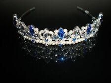 Royal Blue bride Bella tiara, Designer, UK handmade using Swarovski crystal